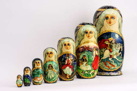 Russian nested dolls, also known as matryoshka, hand-painted, beautiful and colorful photo
