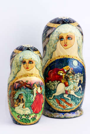 matriosca: Russian nested dolls, also known as matryoshka, hand-painted, beautiful and colorful