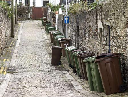 kerb: wheelie bins on English Stree prepared to empty