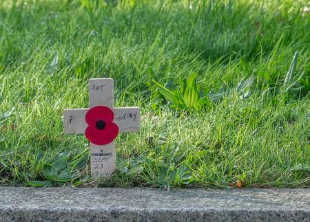 remembrance day poppy: A remembrance day poppy on a cross Editorial