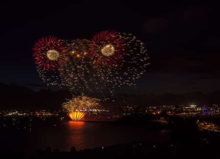 Colorful fireworks over the sea in Plymouth photo