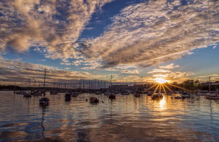 Sunset over Plymouth in UK. Stock Photo