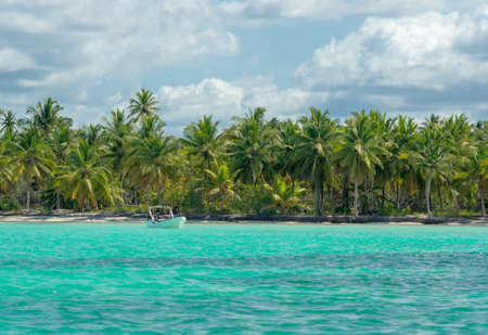 Natural pool at Saona Island on the Caribbean Sea in the Dominican Republic. Stock Photo