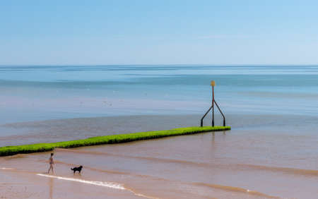 Red beach in Sidmouth in Devon, South England.