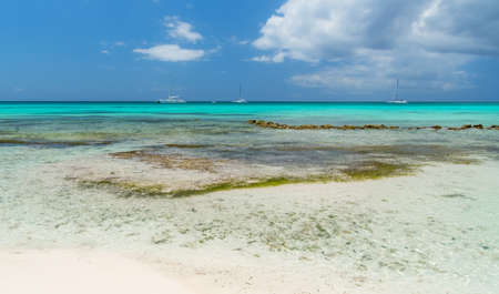 Boats anchored at the shore of the island of saona to the Dominican Republic.