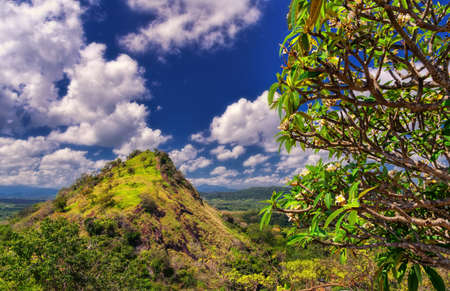 Landscape near Dambulla in Sri Lanka, view from the side of the Buddhist temple.
