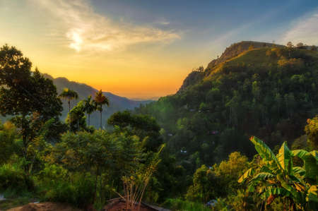 Sunrise, mountain landscape in Ella, Sri Lanka.