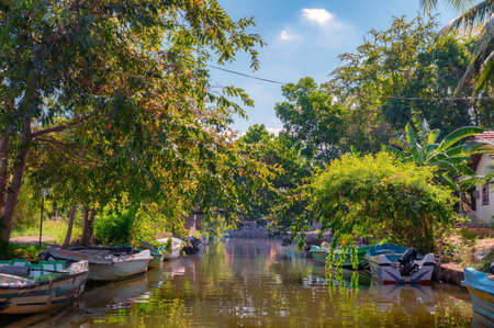 A Dutch canal in Negombo, Sri Lanka. Stock Photo