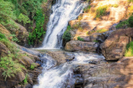 Waterfall in Ella in Sri Lanka. Stock Photo