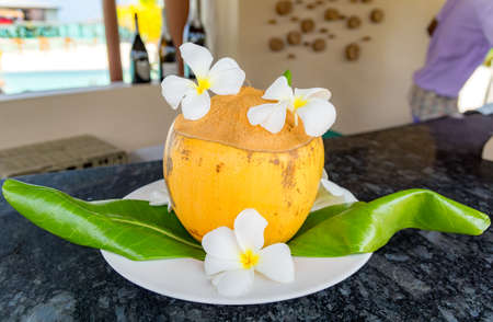 Decorated yellow coconut standing on a counter of a pool bar in a resort in Maldives. Stock Photo