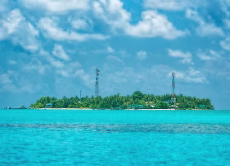 A small island Fulidho in the Maldives. Stock Photo