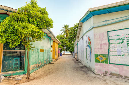 A fragment of small streets and buildings on Fulidhoo, a tiny island in the Maldives.