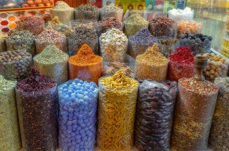 Spices put up for sale at one of the stands at the Dubai market. Stock Photo
