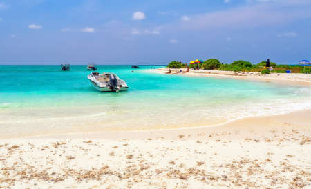 One of the many beautiful beaches somewhere in the Maldives. Stock Photo
