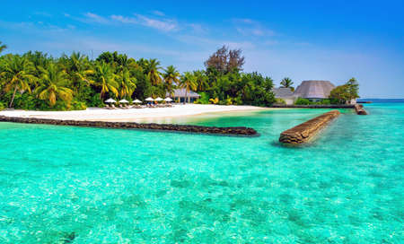 A small island somewhere in the Maldives. Stock Photo