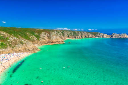 Porthcurno beach, a charming place in English Cornwall.