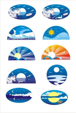 lake sunset: logo Illustration