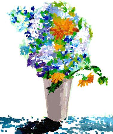flowers in a vase Çizim