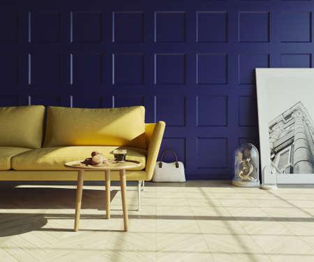 Living room, 3D render
