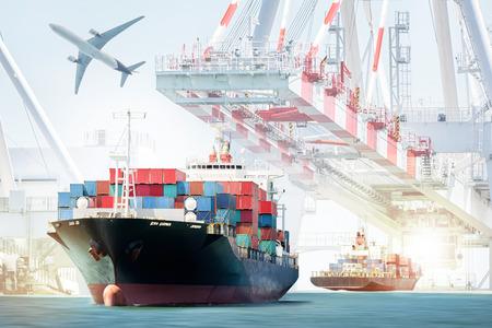 물류 수입 수출 배경 및 운송 업계를위한 컨테이너화물 선박 및화물 비행기입니다.