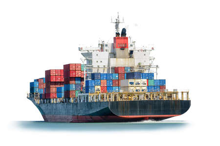 nautical   vessel: Container Cargo ship in the ocean isolated on white background, Freight Transportation, Shipping, Nautical Vessel, Logistic Import Export background.