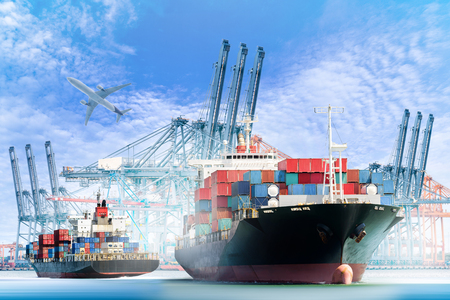 Container Cargo ship with ports crane bridge in harbor and Cargo plane for logistic import export background and transport industry.