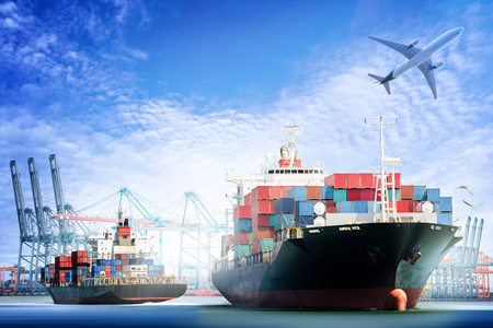 Container Cargo ship and Cargo plane with working crane bridge in shipyard background, logistic import export background and transport industry. Banque d'images