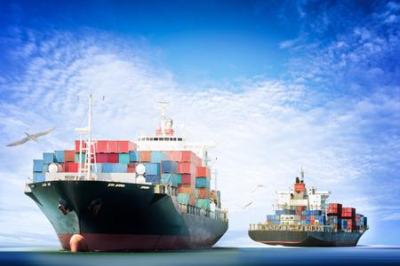 コンテナー貨物輸送、海運、航海船、ロジスティックのインポートおよびエクスポートの背景の青い空を飛んでいる鳥が付いている海洋の貨物船。 写真素材