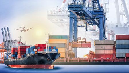 컨테이너 화물선 및 포트와화물 비행기 일몰 항구에서 크레인 다리 하늘,화물 운송, 배송