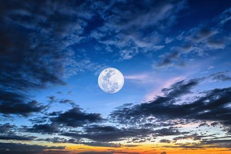 Night time full moon evening twilight sky Stock Photo