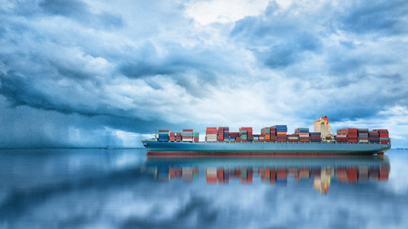 retailer: Logistics and transportation of International Container Cargo ship in the ocean, Freight Transportation, Shipping Stock Photo