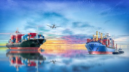 Logistics and transportation of International Container Cargo ship with tugboat and cargo plane in the ocean at twilight sky, Freight Transportation, Shipping