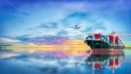 importation: Logistics and transportation of International Container Cargo ship and cargo plane in the ocean at twilight sky, Freight Transportation, Shipping