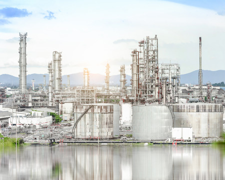 Oil and gas refinery plant against blue sky , petrochemical plant , Petroleum , Chemical Industry Stock Photo