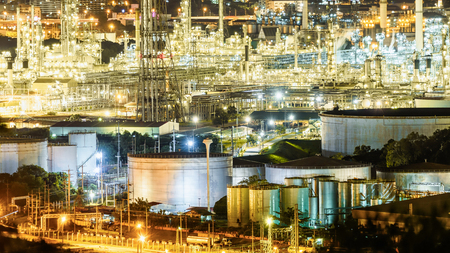 Petrochemical plant , Oil and gas refinery plant at night Stock Photo - 71302655