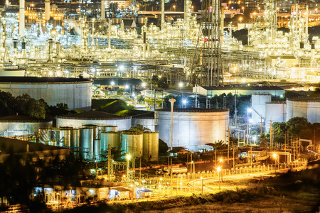 Petrochemical plant , Oil and gas refinery plant at night
