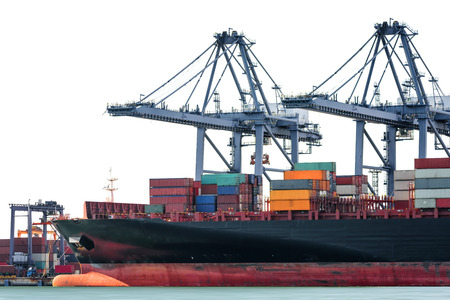 Logistics and transportation of International Container Cargo ship isolated on white background, logistic import export background and transport industry. Stock Photo - 71302614