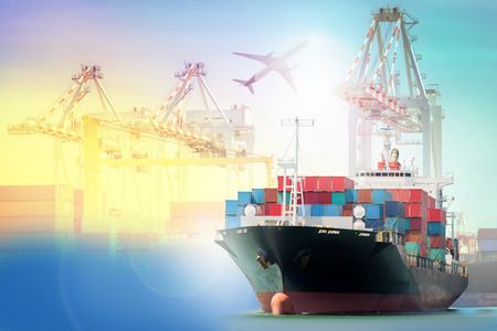 Logistics and transportation Container Cargo ship and Cargo plane with working crane bridge in shipyard background, logistic import export background and transport industry.
