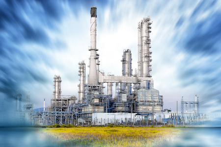 Oil and gas refinery with dramatic sky , Petrochemical plant. Petroleum , Chemical Industry Stock Photo - 71302638