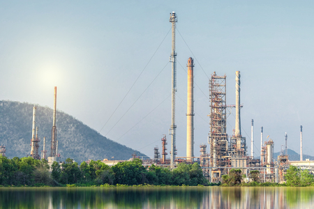 Oil and gas refinery plant with blue sky , Petrochemical plant. Petroleum , Chemical Industry