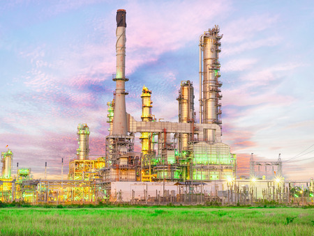 Oil and gas refinery at twilight sky , Petrochemical factory