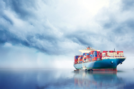 International Container Cargo ship in the ocean, Freight Transportation, Nautical Vessel Stock Photo - 74421998