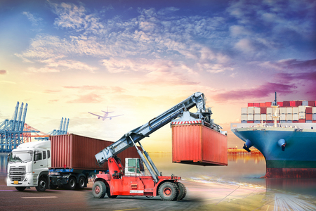 Logistics import export background and transport industry of Container truck and Cargo ship in seaport at sunset background