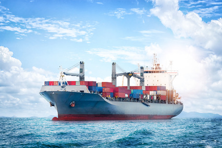 Logistics and transportation of International Container Cargo ship in the ocean, Nautical Vessel Stock Photo - 80151834