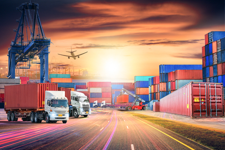 Logistics import export background and transport industry of Container Cargo freight ship and Cargo plane at sunset sky 스톡 콘텐츠