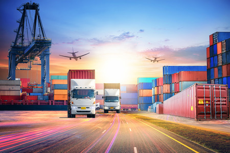 Logistics import export background and transport industry of Container Cargo freight ship and Cargo plane at seaport