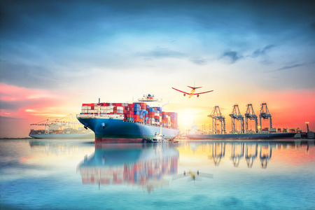 Logistics and transportation of International Container Cargo ship and cargo plane in the ocean at twilight sky, Freight Transportation, Shipping