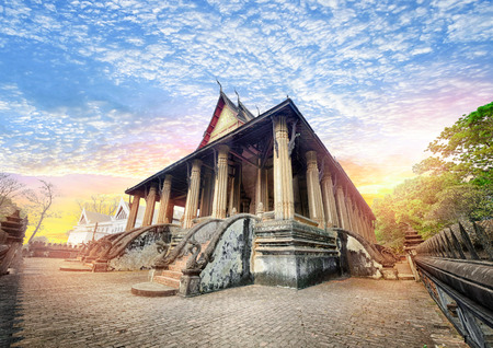 Laos travel landmark, Hor Phakeo (Haw Pha Kaew) Museum in Vientiane, Religious architecture and landmarks, Famous tourist destination in Asia.