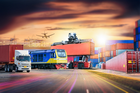 Logistics import export background and transport industry of Container Cargo freight ship and Cargo train at port