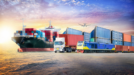 Logistics import export background and container cargo transport concept